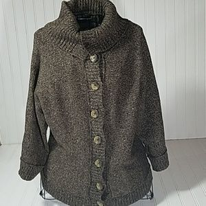 Liz Claiborne Brown 3/4 Slv Cardigan Cowl Medium
